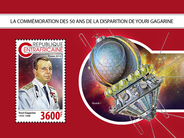 Yuri Gagarin - Issue of Central African republic postage stamps