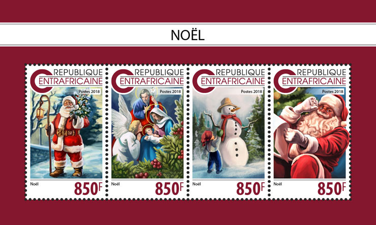 Christmas - Issue of Central African republic postage stamps