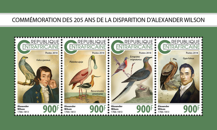 Alexander Wilson - Issue of Central African republic postage stamps
