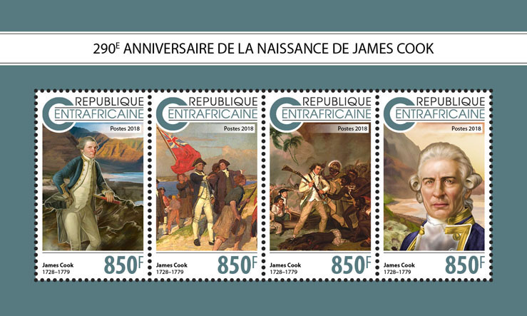 James Cook - Issue of Central African republic postage stamps
