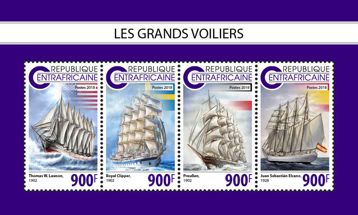 Tall ships - Issue of Central African republic postage stamps