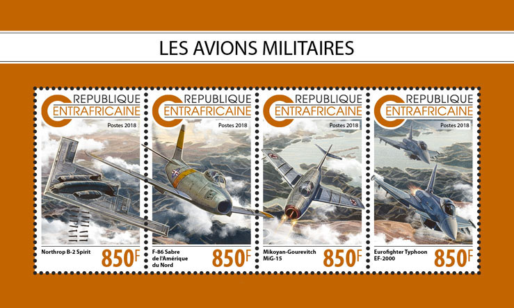 Military planes - Issue of Central African republic postage stamps