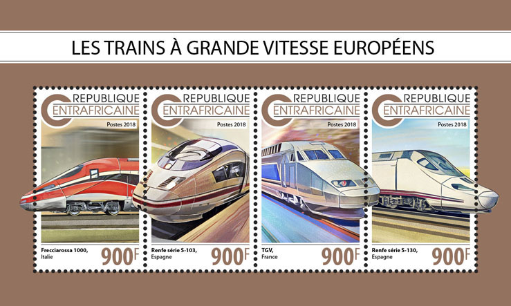 European speed trains - Issue of Central African republic postage stamps