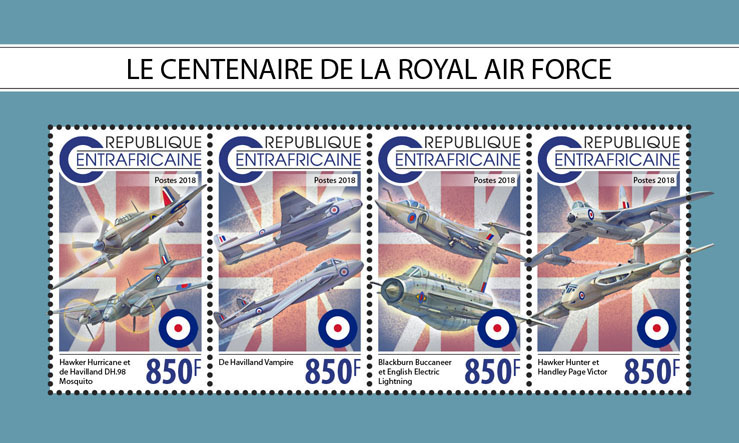 Royal Air Force - Issue of Central African republic postage stamps
