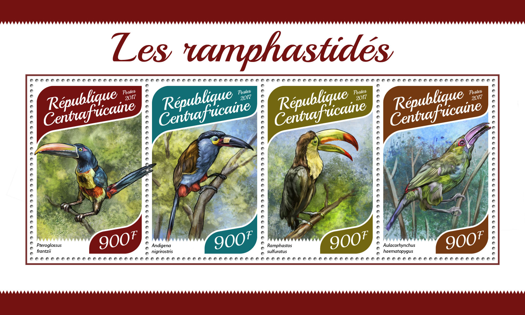 Toucan - Issue of Central African republic postage stamps