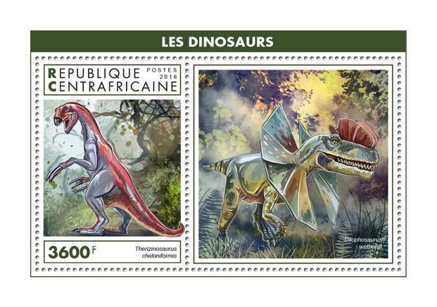 Dinosaurs - Issue of Central African republic postage stamps