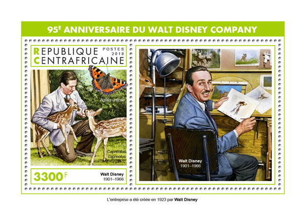 Walt Disney Company - Issue of Central African republic postage stamps
