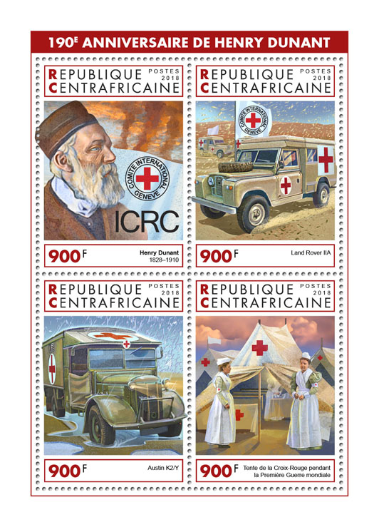 Henry Dunant - Issue of Central African republic postage stamps