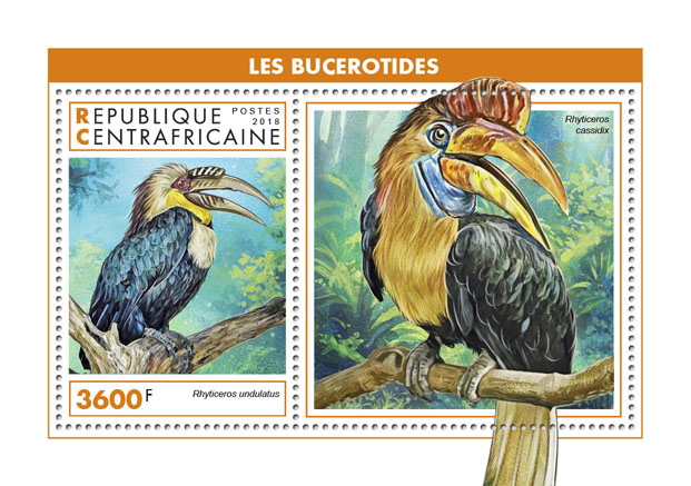 Hornbills - Issue of Central African republic postage stamps