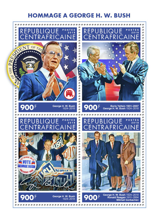 George H. W. Bush - Issue of Central African republic postage stamps