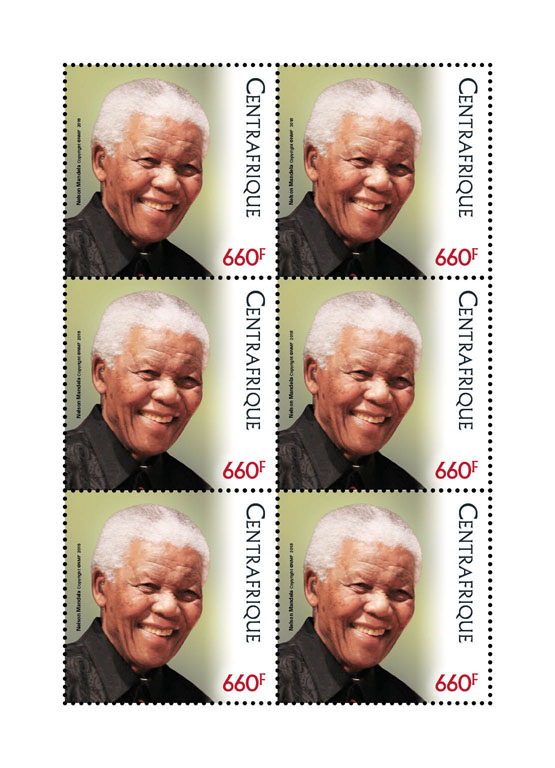 Mandela joint issue - Issue of Central African republic postage stamps