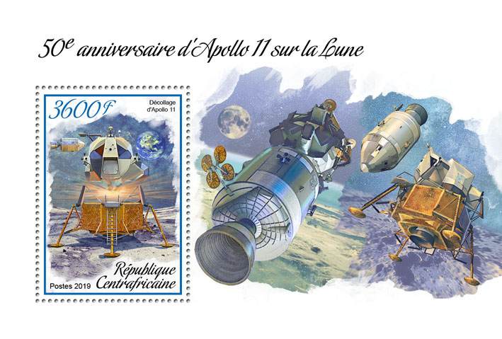 Apollo 11 - Issue of Central African republic postage stamps
