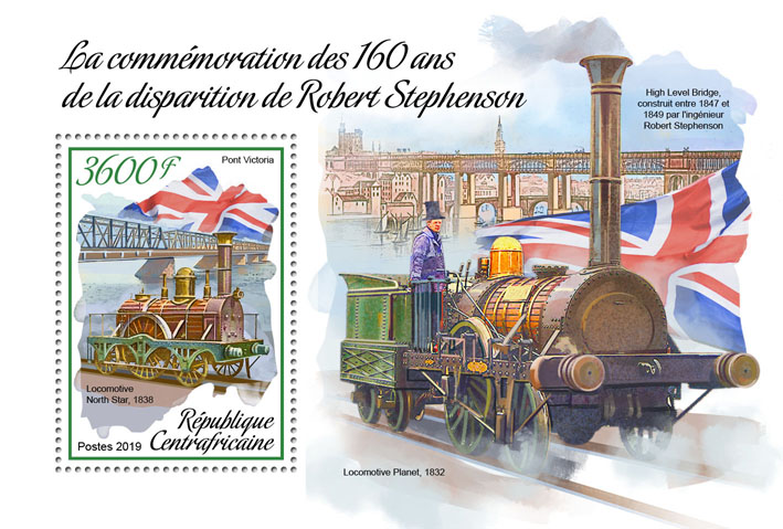 Robert Stephenson - Issue of Central African republic postage stamps