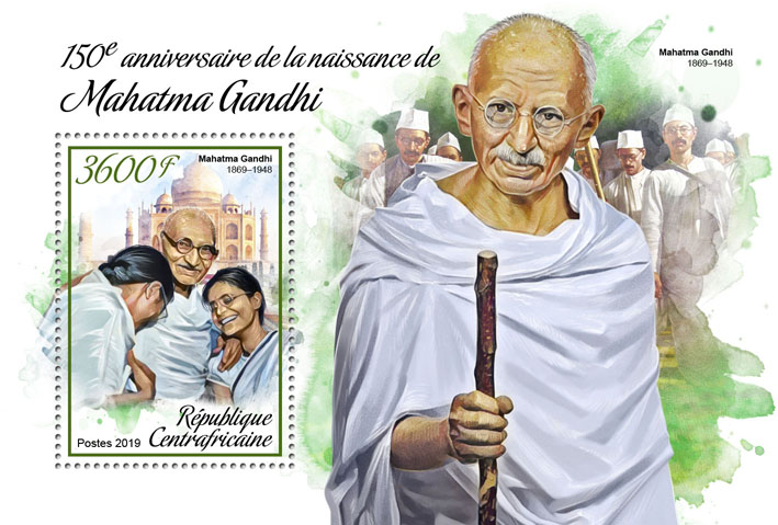 Mahatma Gandhi - Issue of Central African republic postage stamps