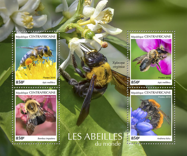Bees - Issue of Central African republic postage stamps