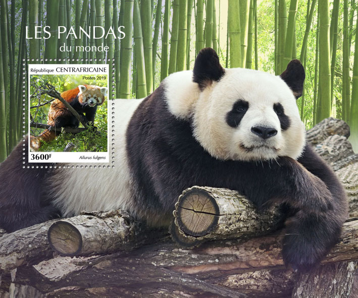 Pandas - Issue of Central African republic postage stamps