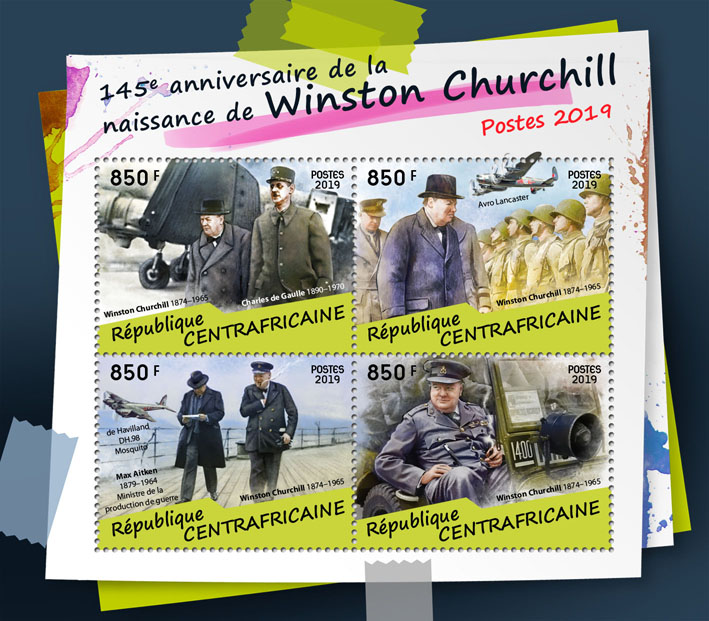 Winston Churchill - Issue of Central African republic postage stamps