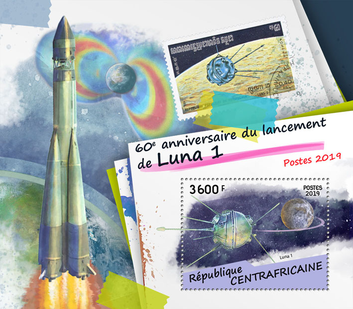 Launch of Luna 1 - Issue of Central African republic postage stamps
