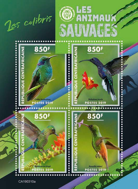 Colibri - Issue of Central African republic postage stamps