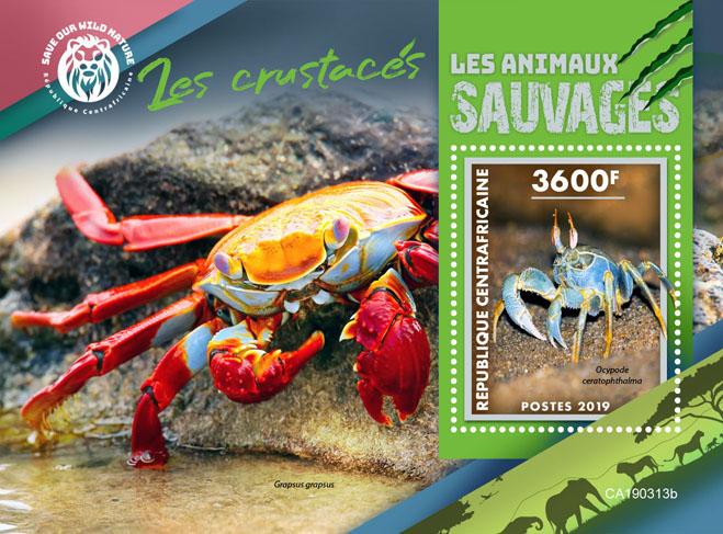 Crabs - Issue of Central African republic postage stamps