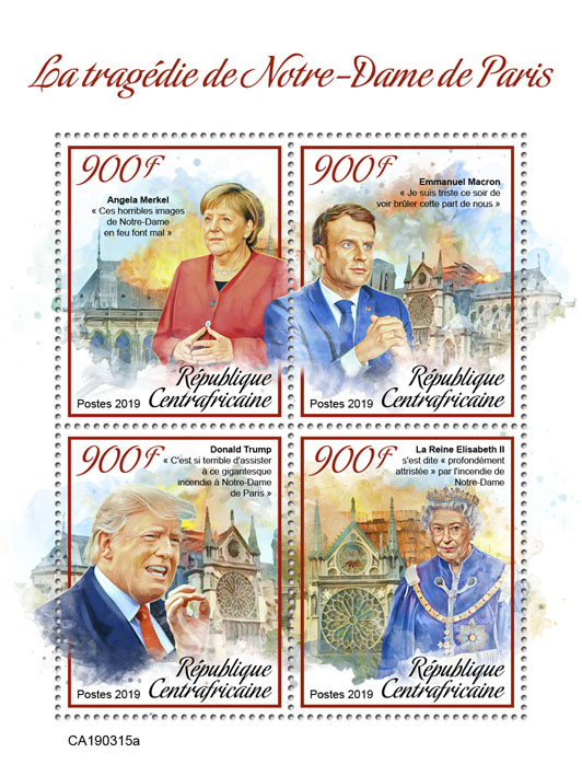 Tragedy of Notre-Dame de Paris - Issue of Central African republic postage stamps