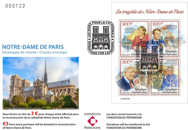 Special FDC for Notre-Dame de Paris. Tragedy of Notre-Dame de Paris - Issue of Central African republic postage stamps