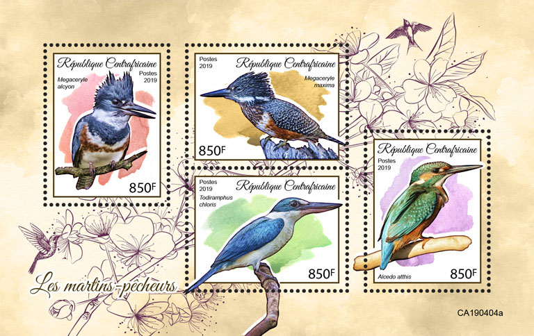 Kingfishers - Issue of Central African republic postage stamps