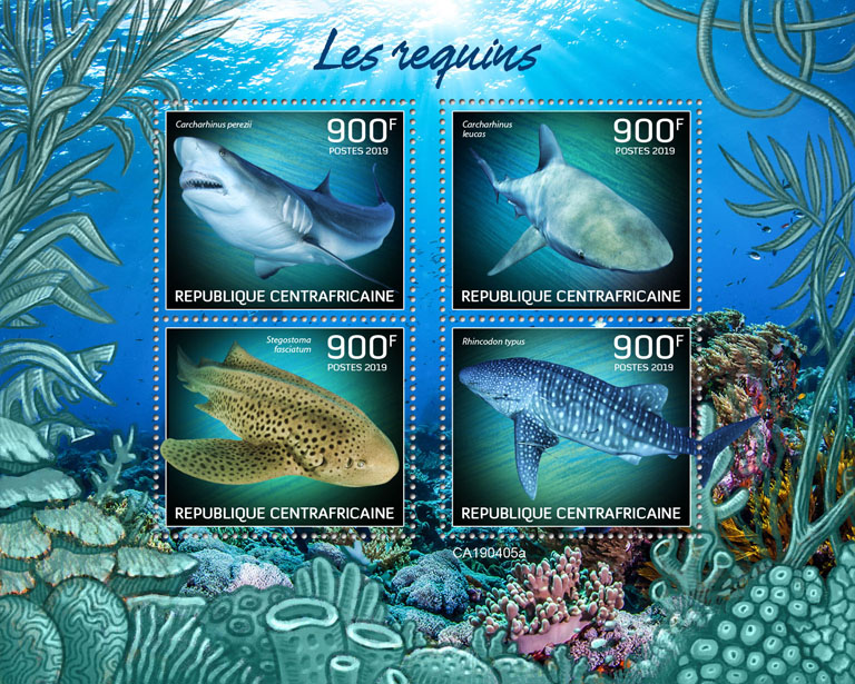Sharks - Issue of Central African republic postage stamps