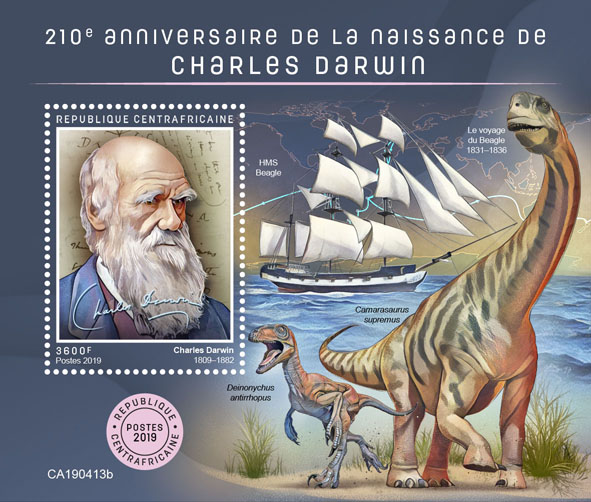 Charles Darwin - Issue of Central African republic postage stamps