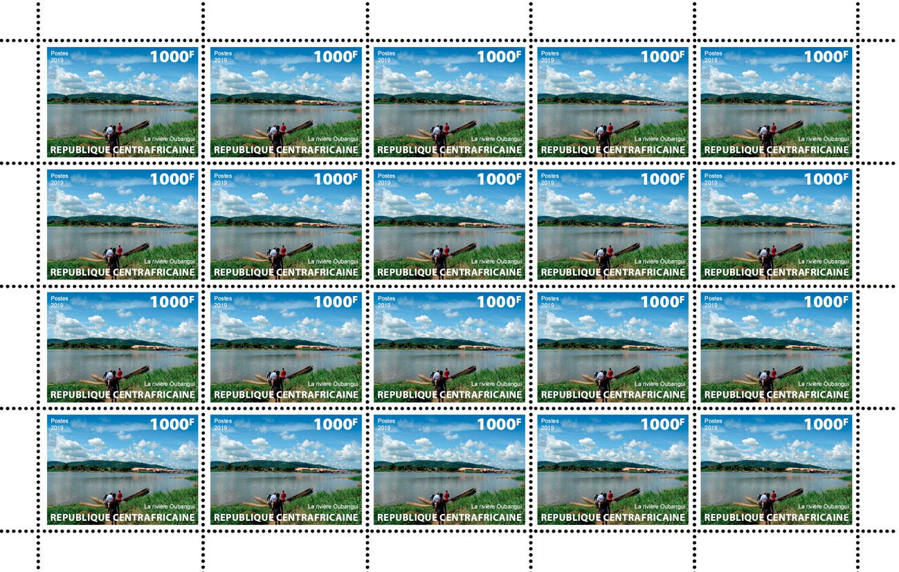Oubangui River - Issue of Central African republic postage stamps