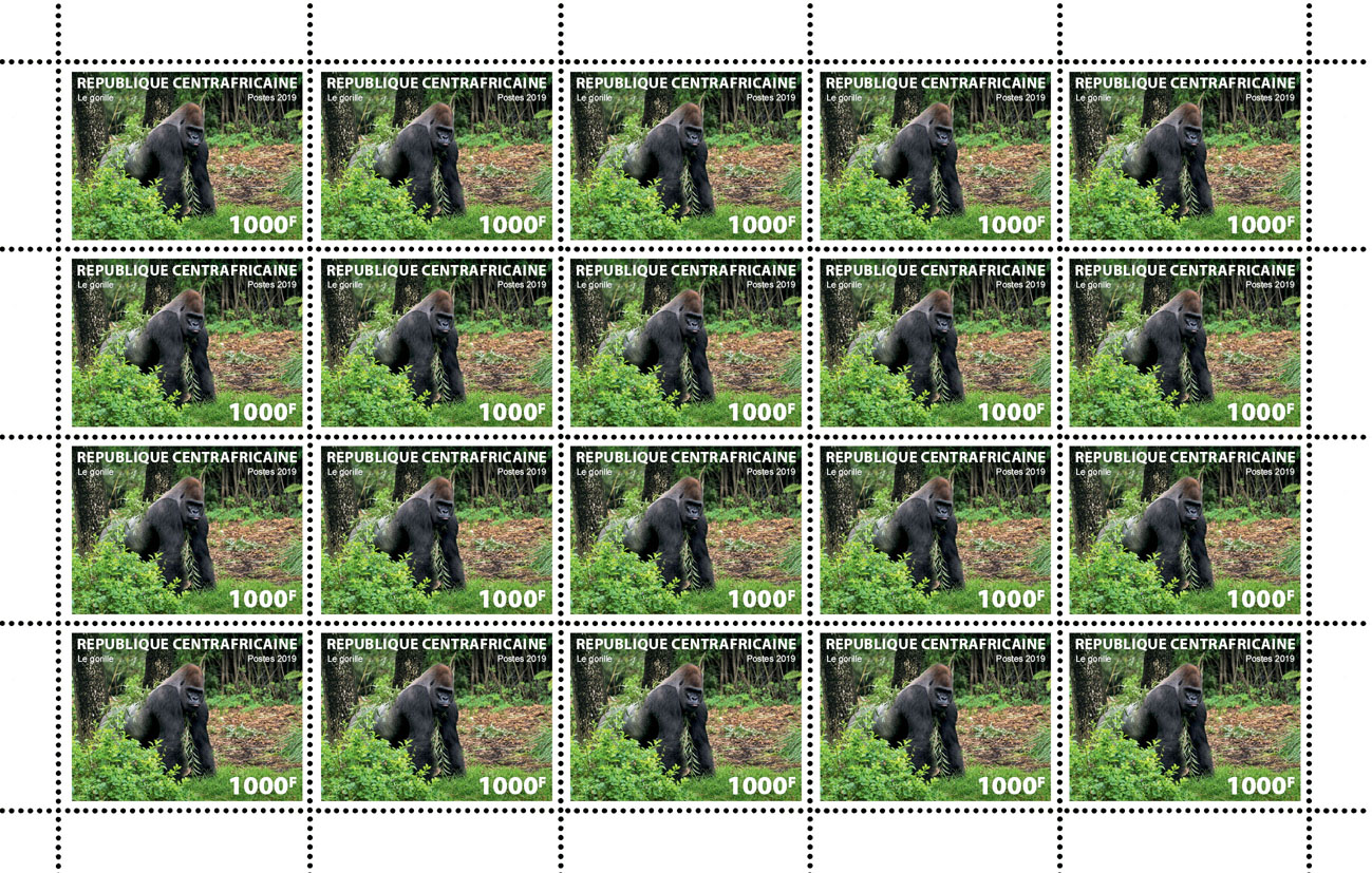 Gorilla - Issue of Central African republic postage stamps