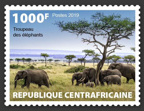 Herd of elephants - Issue of Central African republic postage stamps