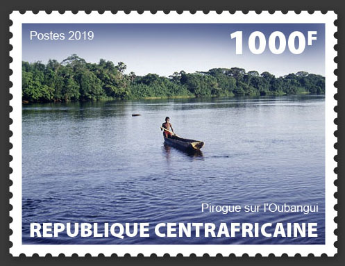 Canoe in the Oubangui - Issue of Central African republic postage stamps