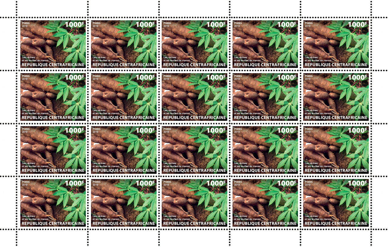 Cassava roots and leaves - Issue of Central African republic postage stamps