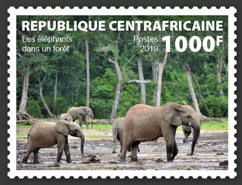 Elephants in the forest - Issue of Central African republic postage stamps