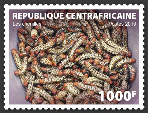 Caterpillars - Issue of Central African republic postage stamps