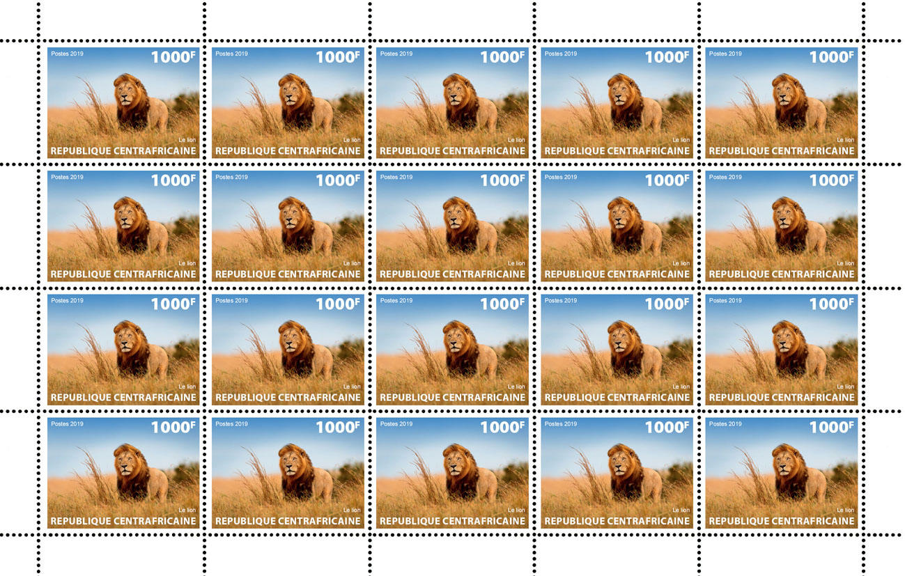 Lion - Issue of Central African republic postage stamps