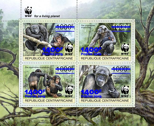 WWF overprint: Monkeys 4v (blue foil) - Issue of Central African republic postage stamps