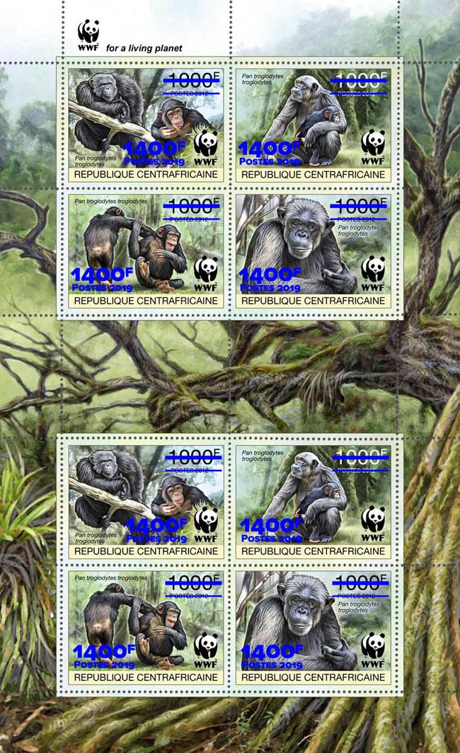 WWF overprint: Monkeys 8v (blue foil) - Issue of Central African republic postage stamps