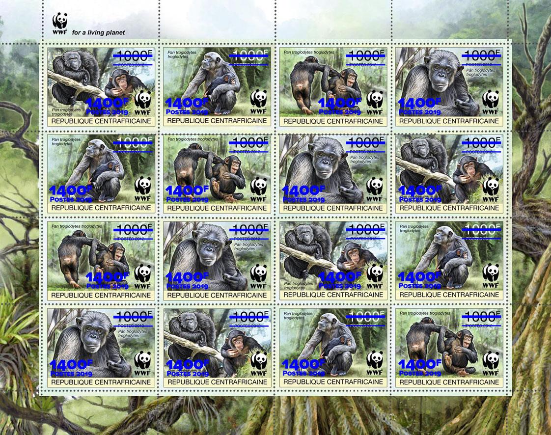 WWF overprint: Monkeys 16v (blue foil) - Issue of Central African republic postage stamps