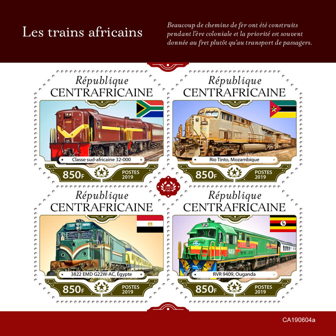 African trains - Issue of Central African republic postage stamps