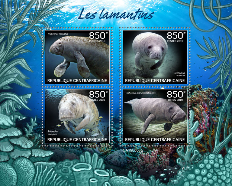 Manatees - Issue of Central African republic postage stamps