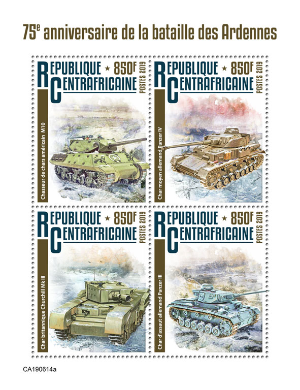 Battle of Bulge - Issue of Central African republic postage stamps