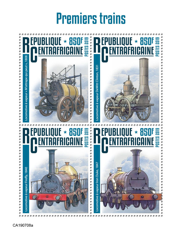 First trains - Issue of Central African republic postage stamps