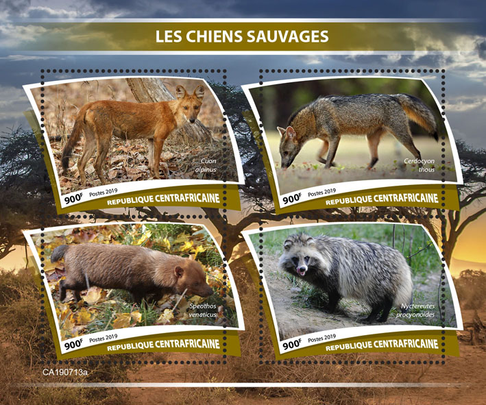 Wild dogs - Issue of Central African republic postage stamps