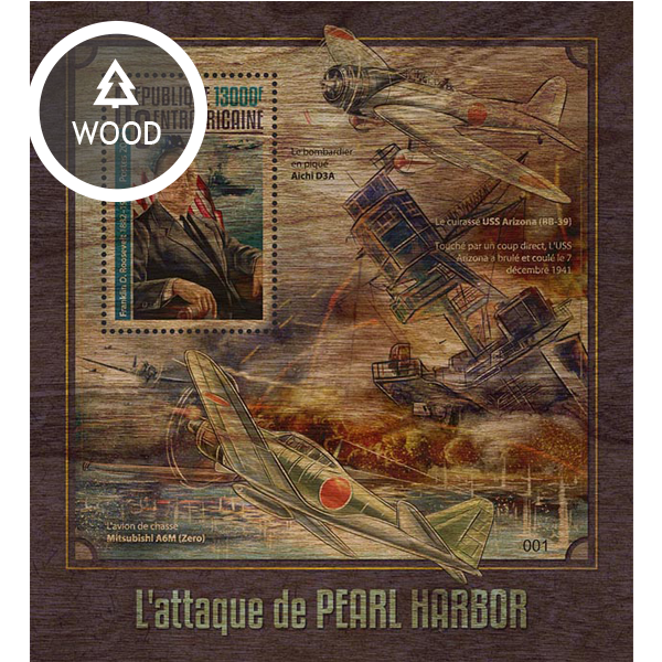 Pearl Harbor attack - Issue of Central African republic postage stamps