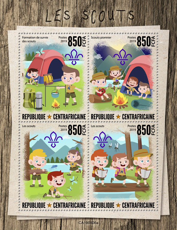 Scouts - Issue of Central African republic postage stamps