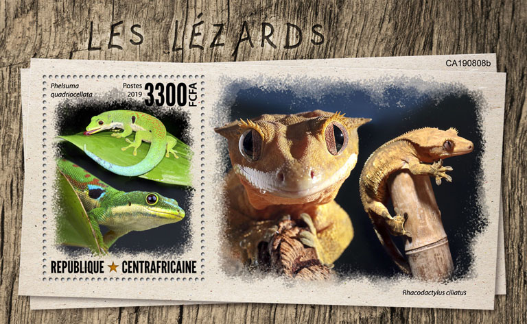 Lizards - Issue of Central African republic postage stamps