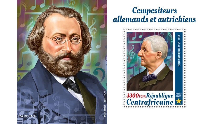 German and Austrian composers - Issue of Central African republic postage stamps