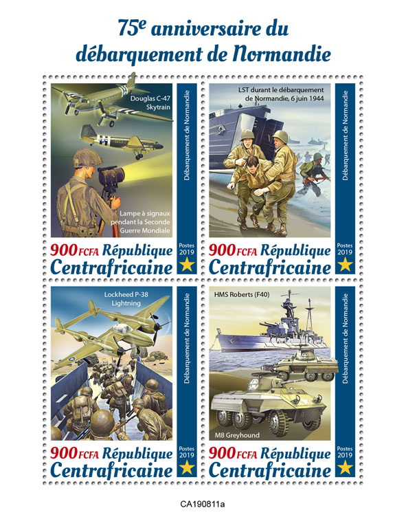 Normandy landings - Issue of Central African republic postage stamps